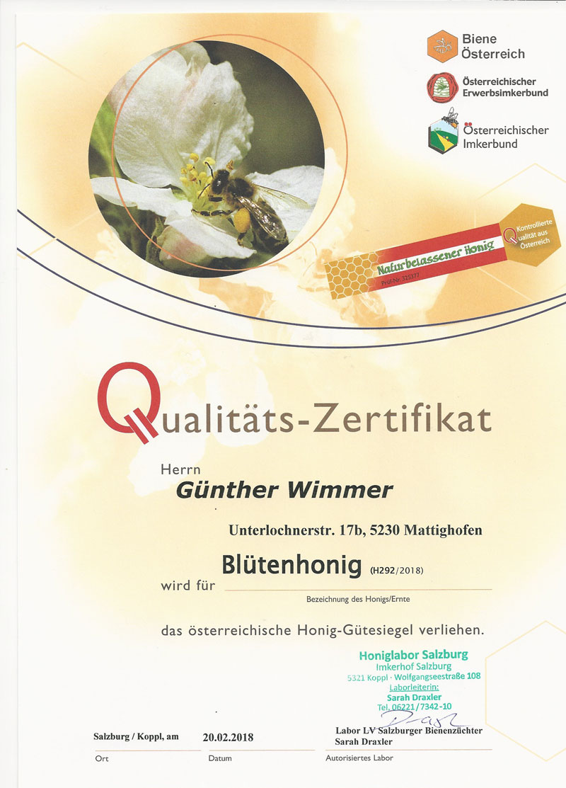 Zertifikat-Bluetenhonig